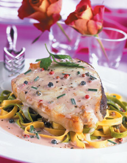 Recipe for Halibut Steaks with Champagne and Peppercorn Sauce